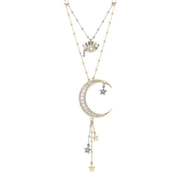 Moon And Star Silver Double Layer Necklace Unique